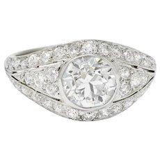 Art Deco 2.53 CTW Old European Diamond Platinum Bombe Band Ring