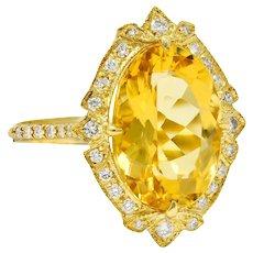 Bright Heliodor Golden Beryl Diamond 18 Karat Gold Cocktail Ring