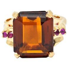 Cartier Retro Citrine Ruby 14 Karat Gold Gemstone Ring