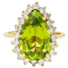 Vintage 5.60 CTW Peridot Diamond 14 Karat Gold Pear Cluster Ring
