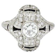 Art Deco 1.80 CTW Diamond Onyx Platinum Dinner Ring Circa 1930