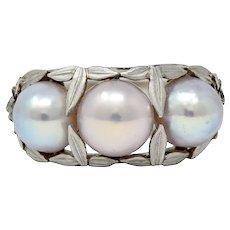 Edwardian Natural Freshwater Pearl Platinum Laurel Band Ring GIA