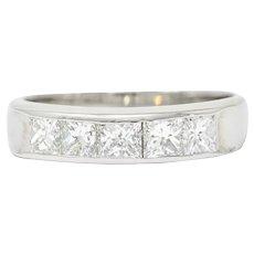Sleek Modern 1.00 CTW Princess Diamond Platinum Stacking Band Ring