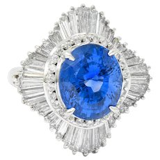 No Heat 9.59 CTW Ceylon Sapphire Diamond Platinum Ballerina Halo Ring AGL