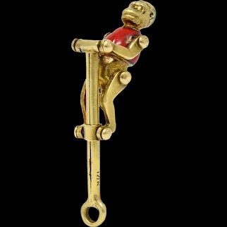 1940's Retro Enamel 14 Karat Gold Articulated Circus Monkey Charm