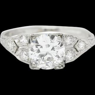J & D Graf Art Deco 1.36 CTW Diamond Platinum Engagement Ring GIA