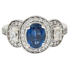 Vintage 2.70 CTW Sapphire Diamond 18 Karat White Gold Triple Cluster Ring