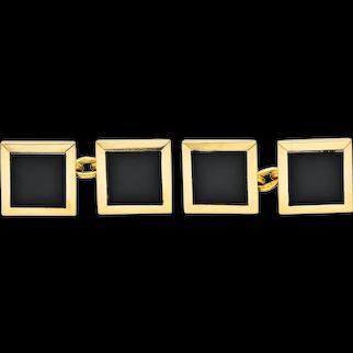 Cartier Onyx Inlay French 18 Karat Gold Men's Square Cufflinks