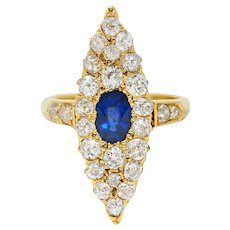 Late Victorian 2.08 CTW Sapphire Diamond 18 Karat Gold Navette Cluster Ring