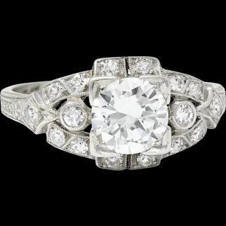 1930's Art Deco 1.20 CTW Diamond Platinum Geometric Band Ring