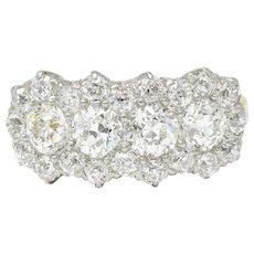 Edwardian 2.65 CTW Diamond Platinum-Topped 18 Karat Gold Cluster Band Ring