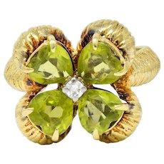 David Trabich 1980's Vintage 2.90 CTW Peridot Diamond 14 Karat Gold Clover Ring