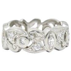 Vintage 0.65 CTW Diamond Platinum Scrolling Eternity Band Ring