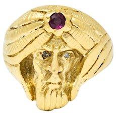 Art Nouveau Ruby Diamond 14 Karat Gold Wise Man Ring