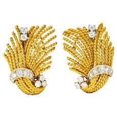 1960's Vintage 0.85 CTW Diamond 18 Karat Gold Twisted Rope Ear-Clip Earrings