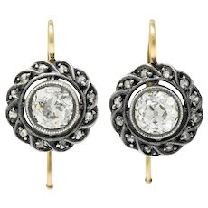 Victorian 1.60 CTW Diamond Silver-Topped 14 Karat Gold Cluster Drop Earrings