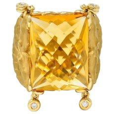 Carrera Y Carrera Citrine Diamond 18 Karat Gold Nanking Dragon Statement Ring