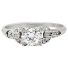 1940's Retro 0.53 CTW Diamond Platinum Buckle Engagement Ring