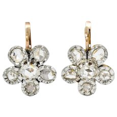 French Edwardian 1.45 CTW Diamond Platinum-Topped 18 Karat Gold Floral Cluster Earrings