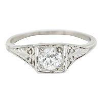 Traub Art Deco 0.46 CTW Diamond Platinum Foliate Engagement Ring