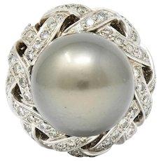 Vintage South Sea Tahitian Pearl 2.00 CTW Diamond 18 Karat White Gold Statement Ring