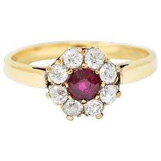 Victorian 0.92 CTW Ruby Diamond 14 Karat Gold Cluster Ring Circa 1900