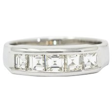 Contemporary 1.03 CTW Square Step Cut Diamond Platinum Stacking Band Ring