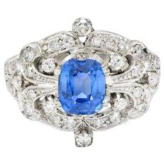 1950's Mid-Century 2.90 CTW Sapphire Diamond 18 Karat White Gold Cocktail Ring