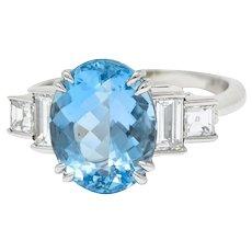 Tiffany & Co. 4.75 CTW Aquamarine Diamond Platinum Statement Ring