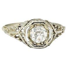 1920's Art Deco 0.50 CTW Diamond 18 Karat White Gold Floral Engagement Ring