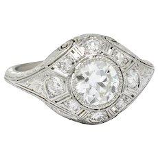 Early Art Deco 1.07 CTW Diamond Platinum Bombe Foliate Engagement Ring