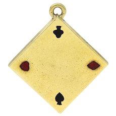 1950's Walter Lampl Enamel 14 Karat Gold Folding Card Table Charm