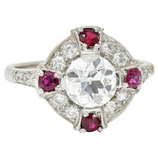 1930's Art Deco 2.32 CTW Diamond Ruby Platinum Halo Ring GIA