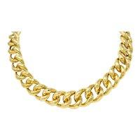 Henry Dunay Vintage 1970's 18 Karat Hammered Gold Curb Link Necklace