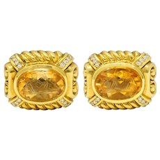 Vintage Diamond Citrine 18 Karat Gold Poseidon Intaglio Ear-Clip Earrings
