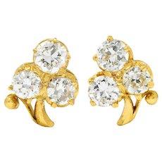 Antique 1.00 CTW Diamond 18 Karat Gold Clover Screwback Stud Earrings