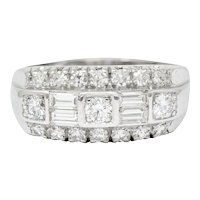 1950's Mid-Century 1.00 CTW Diamond 14 Karat White Gold Band Ring