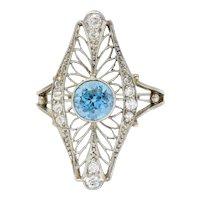 Edwardian 1.00 CTW Aquamarine Diamond Platinum Dinner Ring