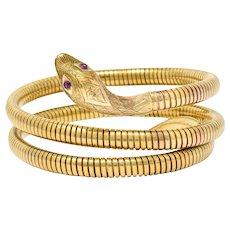 1987 Cropp & Farr Vintage British Ruby 9 Karat Gold Tubogas Snake Armband Bracelet