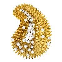French Tiffany & Co. 1.60 CTW Diamond 18 Karat Gold Vintage Radial Burst Brooch Circa 1970