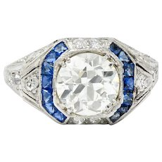 Art Deco 2.75 CTW Diamond Sapphire Platinum Octagonal Ring GIA Circa 1930
