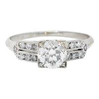 Late Art Deco 0.93 CTW Diamond Platinum Engagement Ring