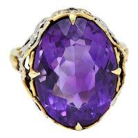 Allsopp-Steller Amethyst 14 Karat Two-Tone Gold Scrolled Foliate Ring