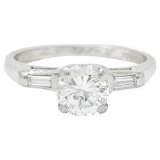 1957 Mid-Century 1.10 CTW Diamond Platinum Three Stone Engagement Ring