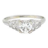 The Barth Co. Retro 1.00 CTW Diamond 18 Karat White Gold Stepped Engagement Ring