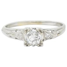 Retro 0.67 CTW Diamond 14 Karat White Gold Engagement Ring