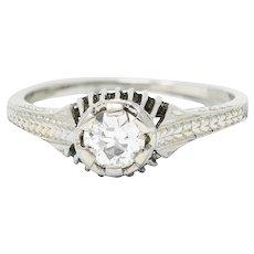 Art Deco 0.35 CTW Diamond 18 Karat White Gold Foliate Engagement Ring