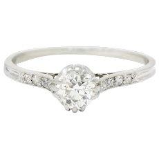 Early Art Deco 0.50 CTW Diamond Platinum Engagement Ring Circa 1920