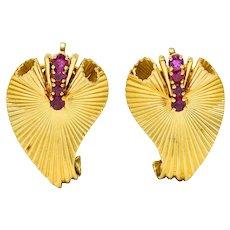 Cartier Retro 0.50 CTW Ruby 18 Karat Gold Scrolled Foliate Ear-Clip Earrings