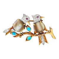 Vintage Turquoise Mother-of-Pearl Diamond Platinum 18 Karat Gold Bird Brooch